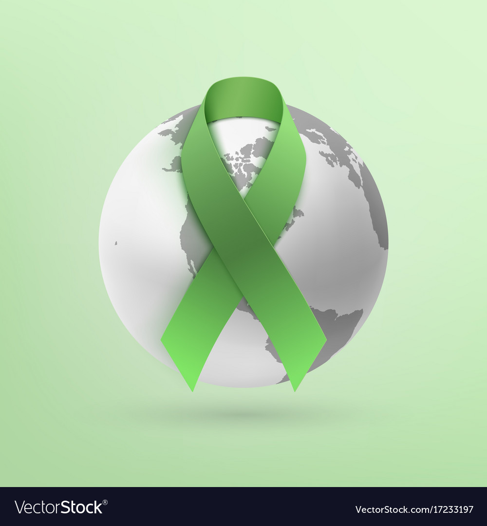 Green ribbon with monochrome earth icon