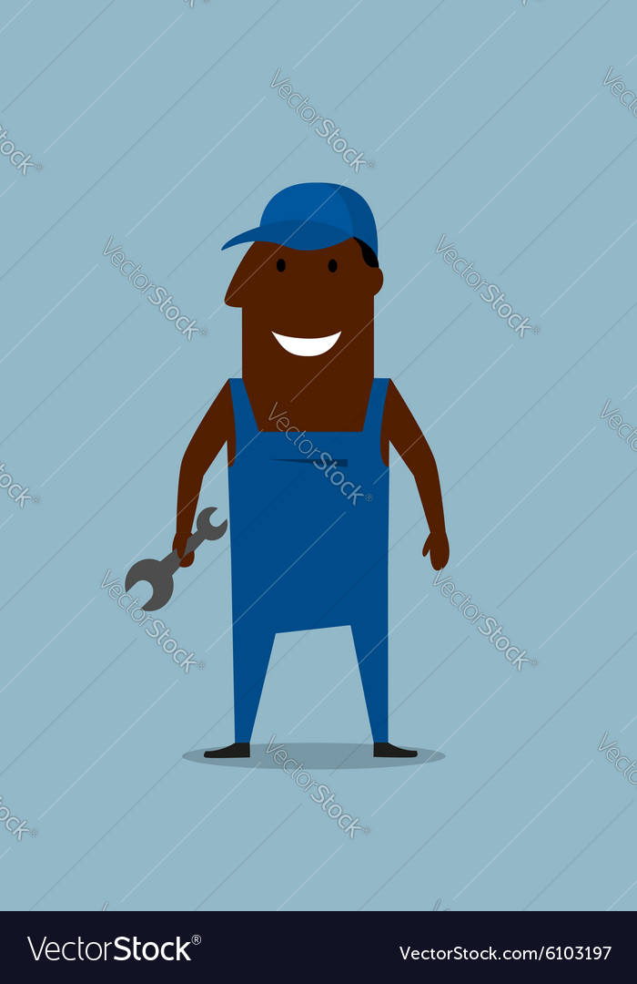 Happy smiling mechanic or repairman with wrench vector image