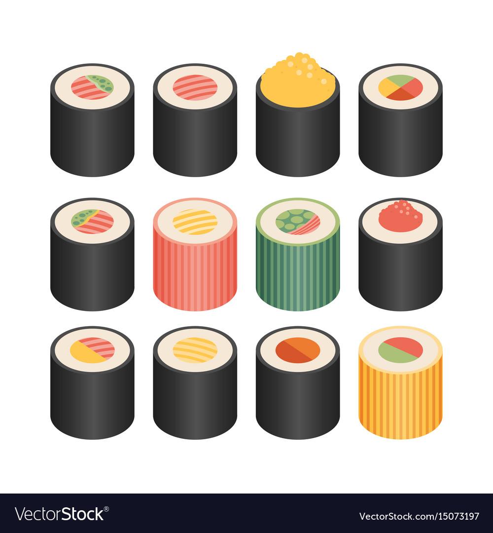 Isometric flat icons 3d pictograms set - sushi