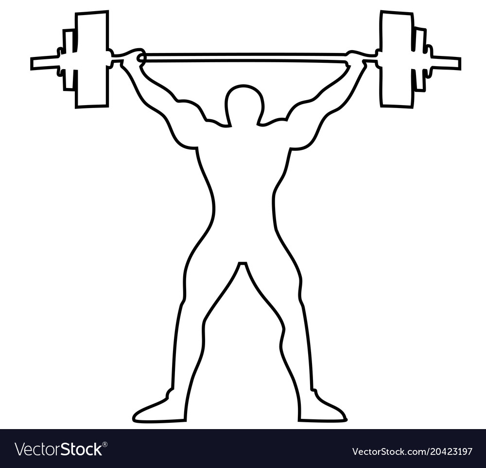 Lifting weights one line drawing