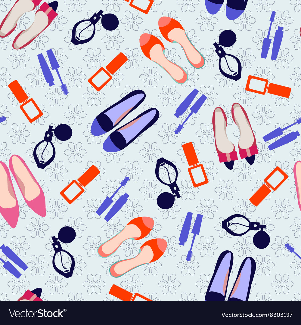 Pattern with make up and shoes