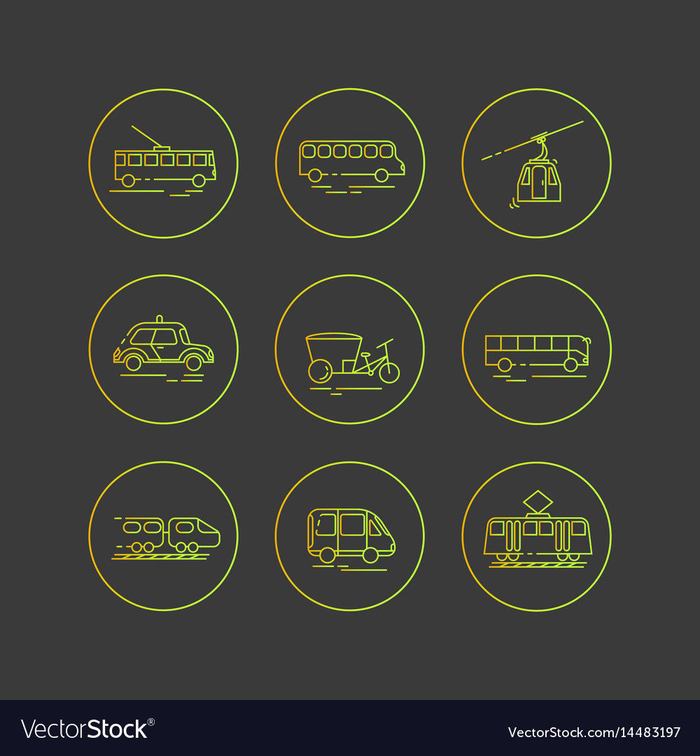 Public city transport flat icons on a dark