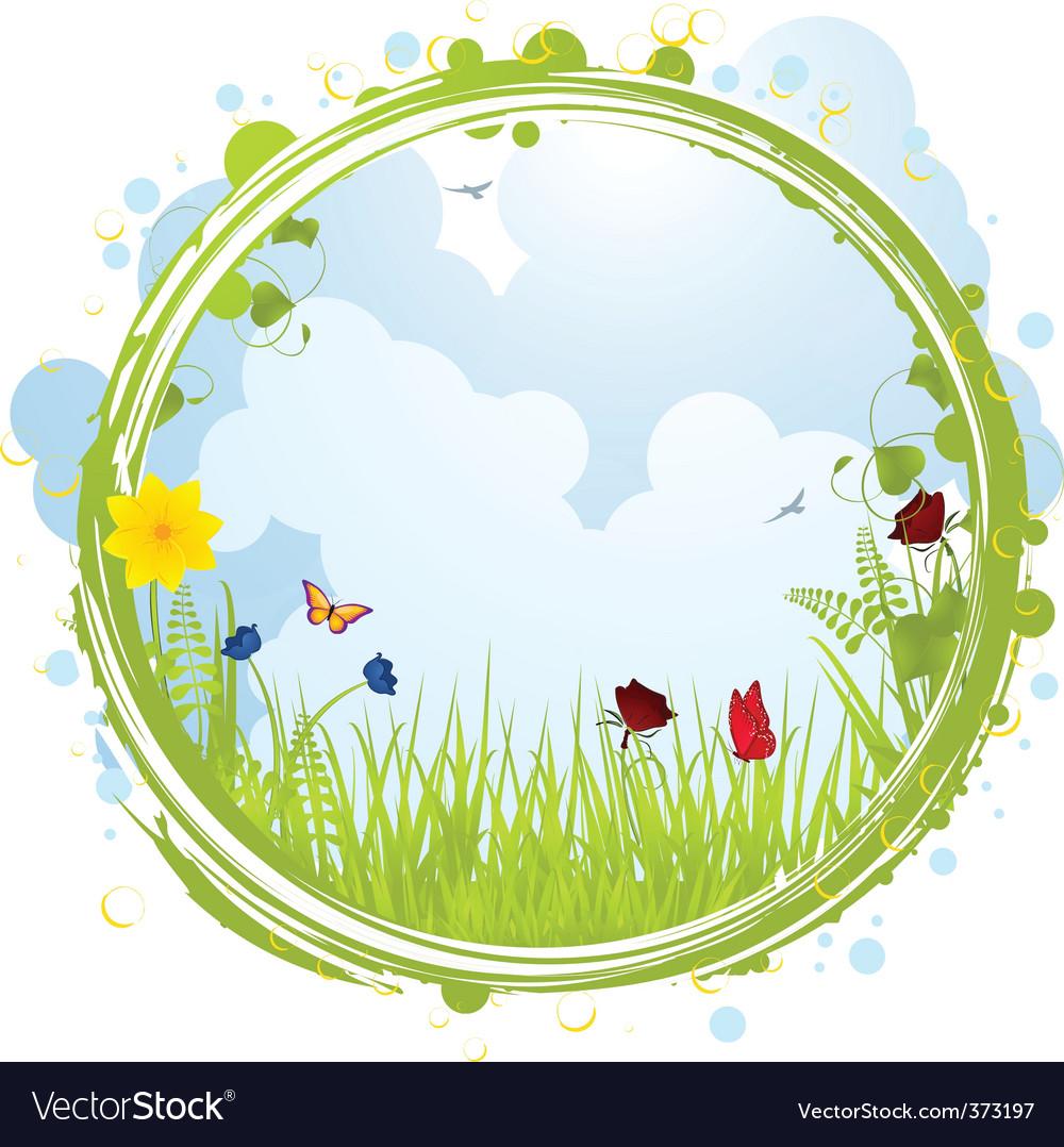 Spring border vector image