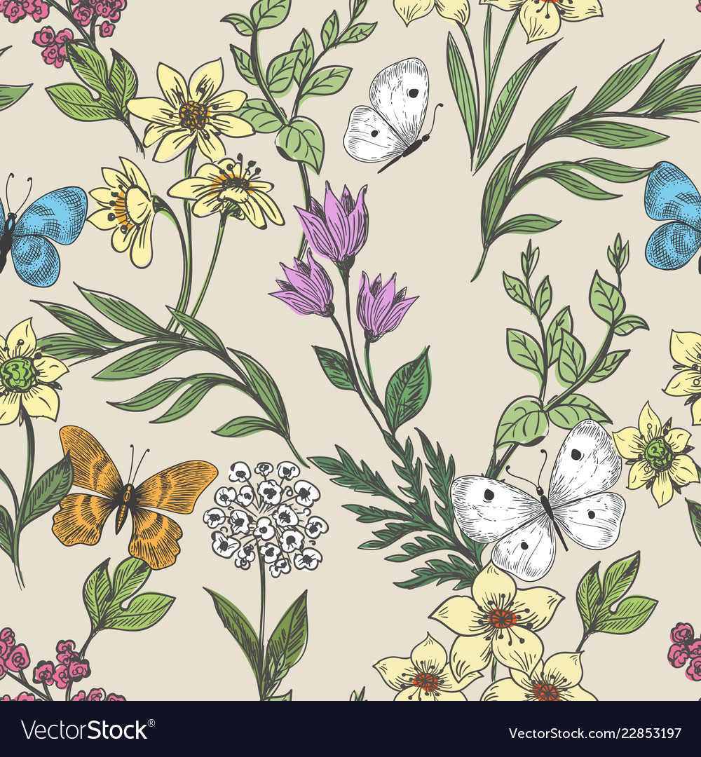 Wildflowers and butterflies background