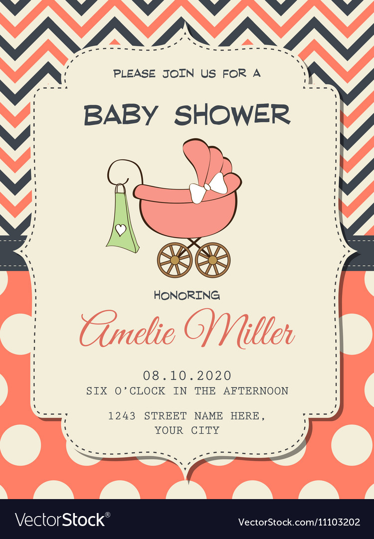 Beautiful baby girl shower card with stroller