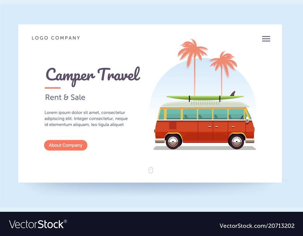 Camper travel website template surfing retro van