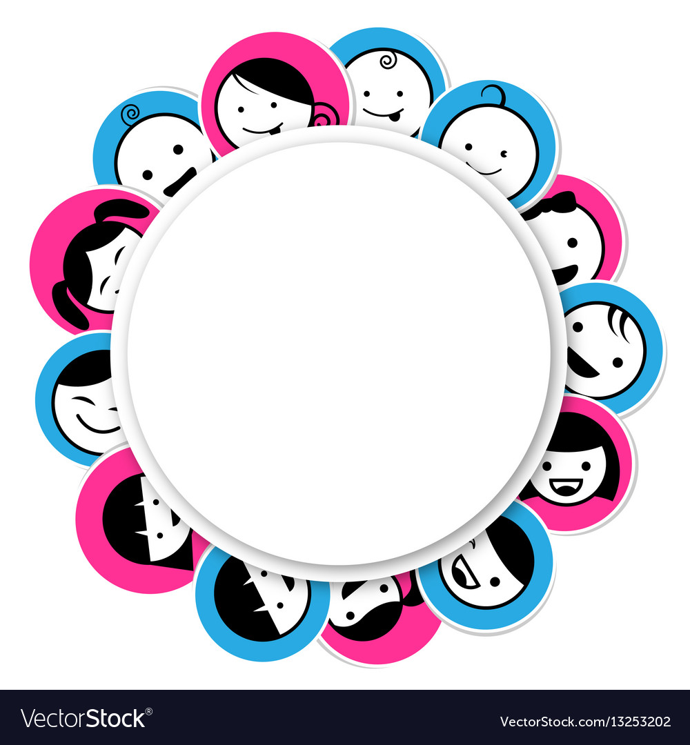 Circle banner with kids icon vector image