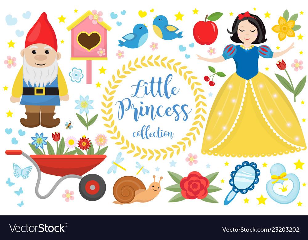 Cute fairytale princess snow white set objects