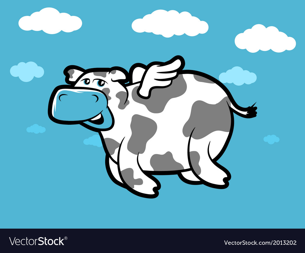 Flying Cow Royalty Free Vector Image Vectorstock