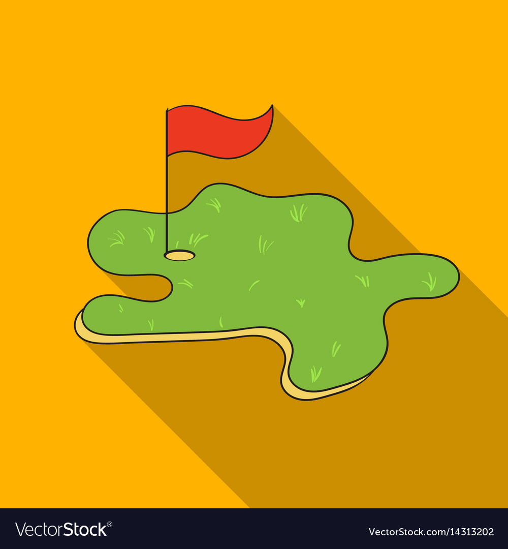 Golf course icon in flat style isolated on white