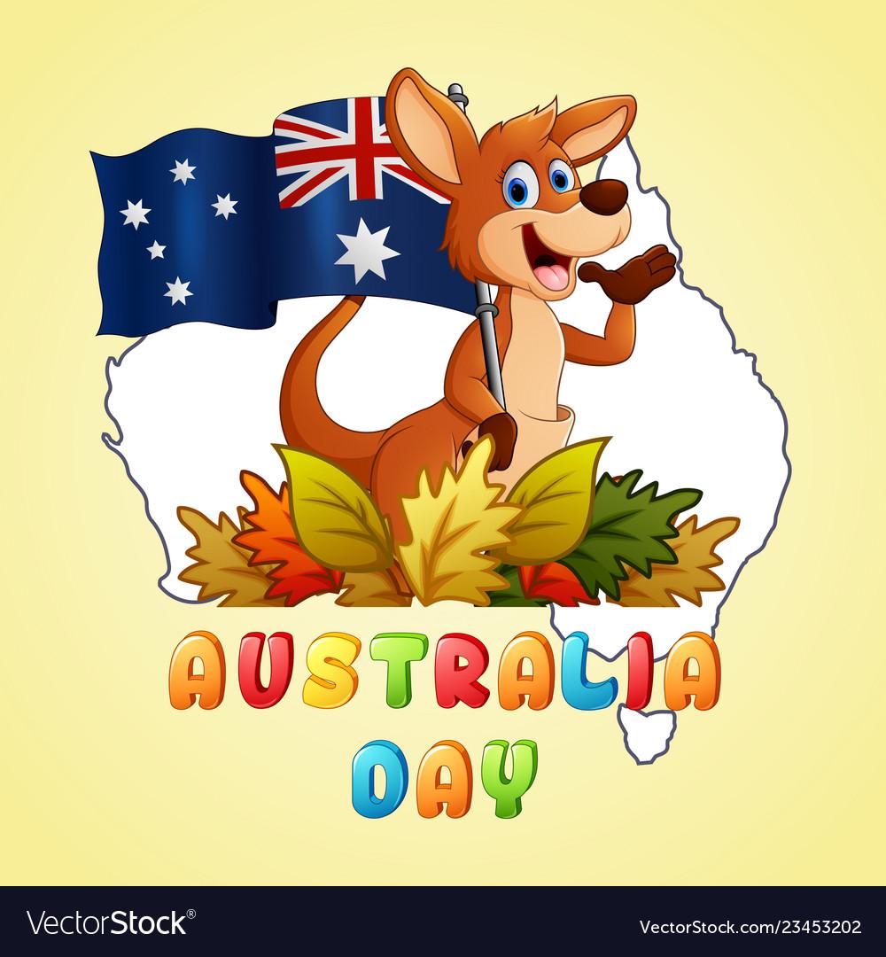 Happy australia day kangaroo holding a flag on map on