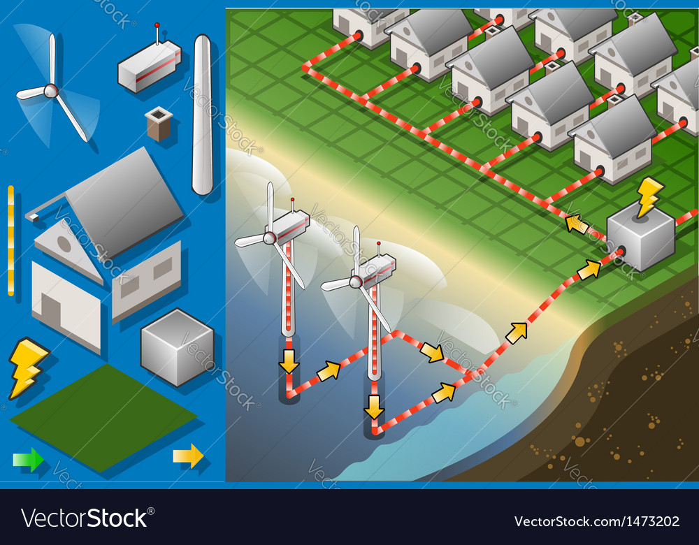 Isometric Houses with Offshore Wind Turbines vector image