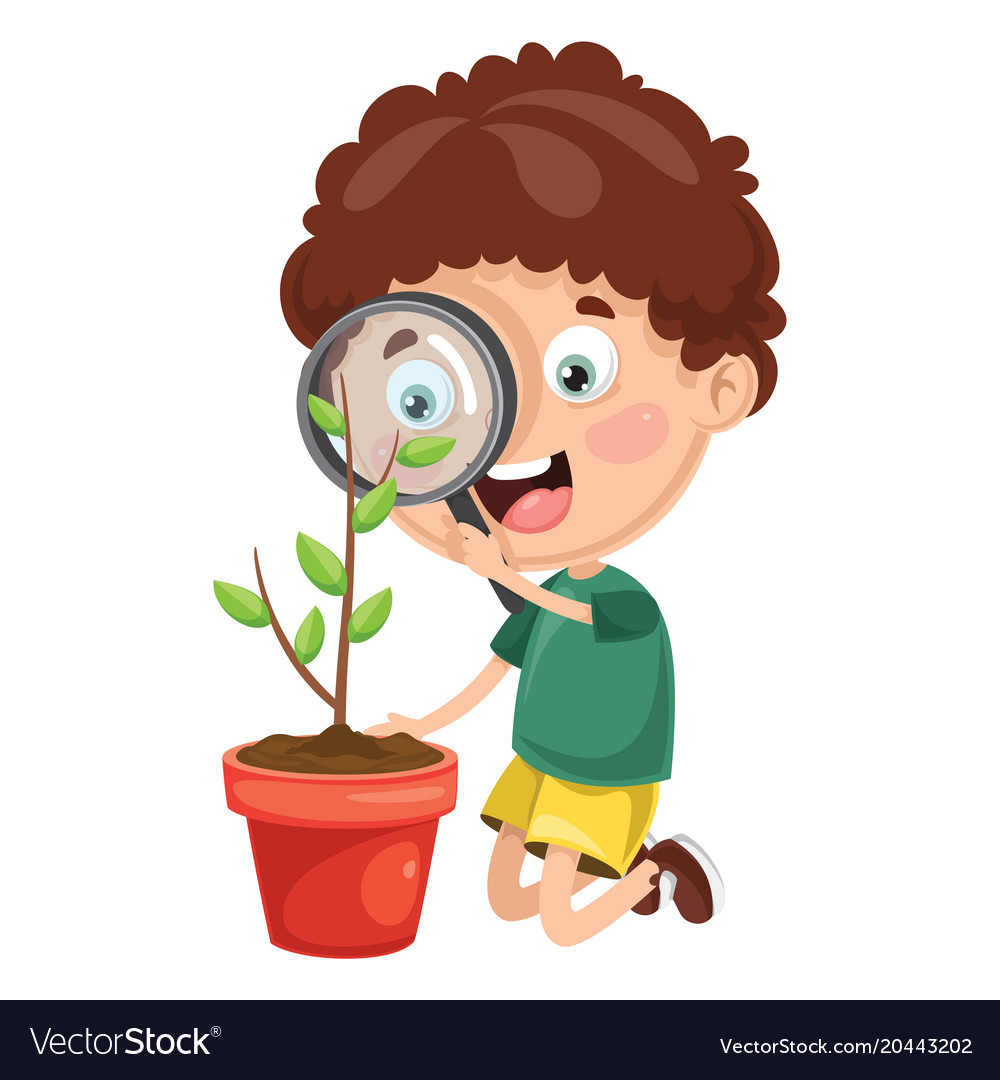 Kid with magnifier