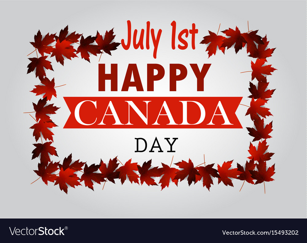 Leaf line canada day card in