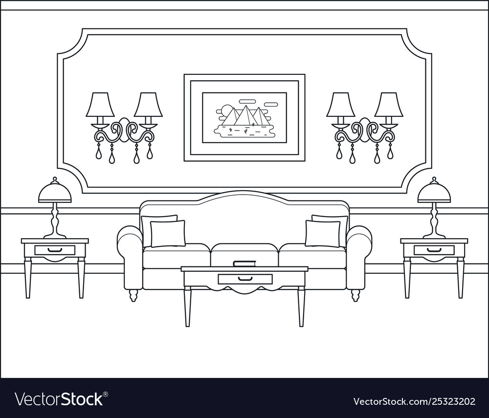 Living Room Interior In Flat Design Outline