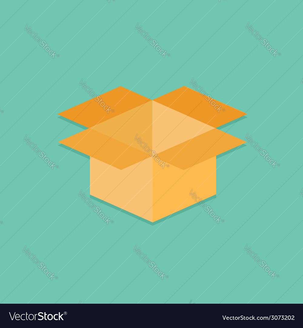 Opened yellow cardboard package box Flat design