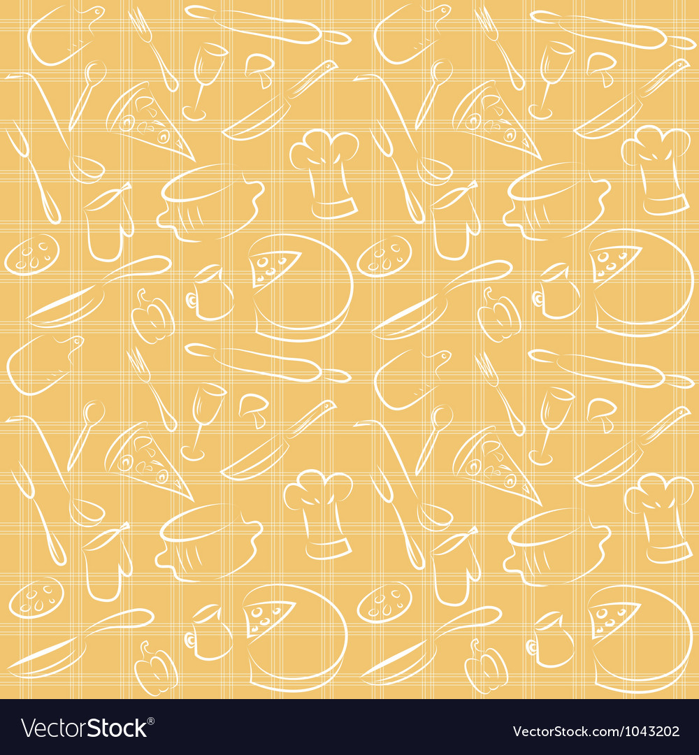 Seamless kitchen orange pattern vector image