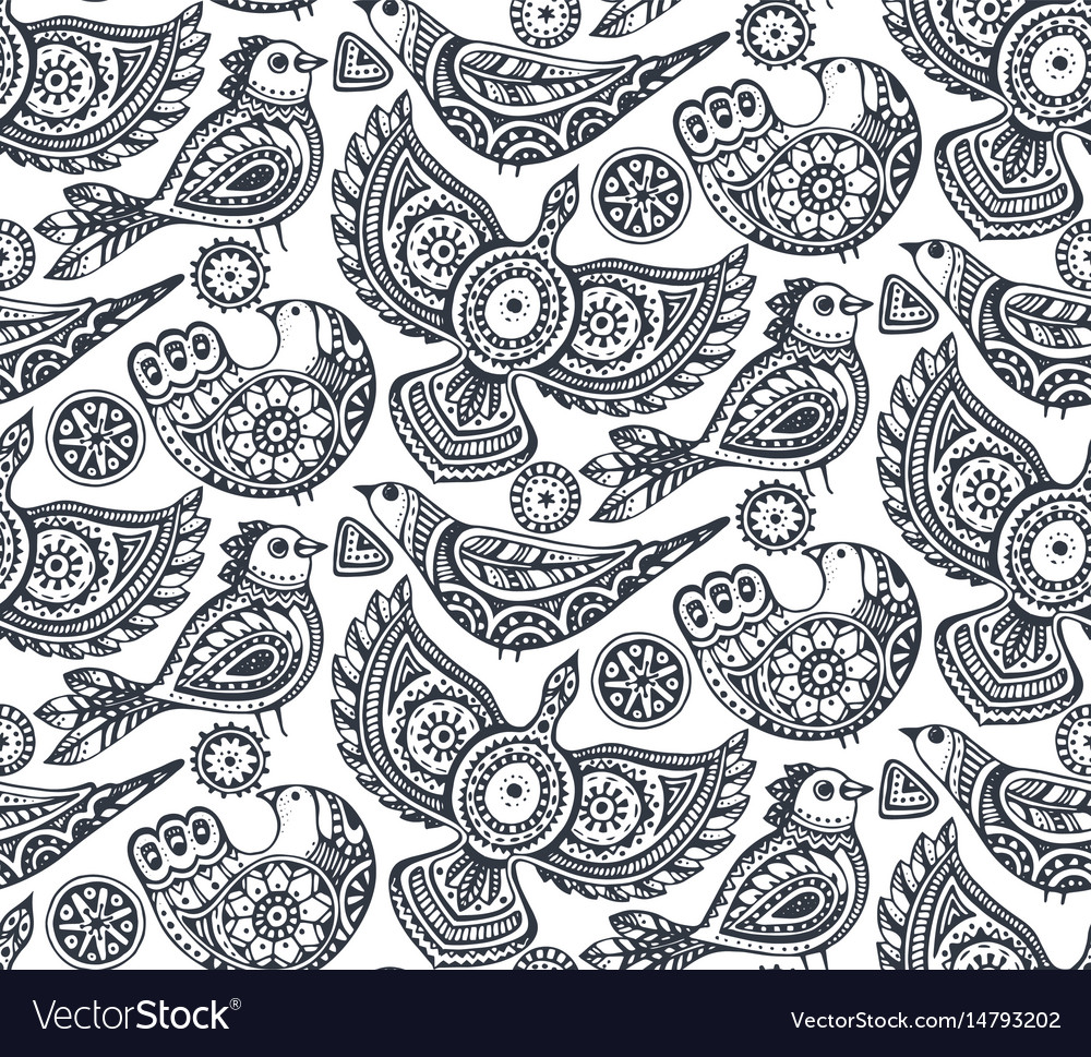 Seamless pattern with ethnic ornate birds