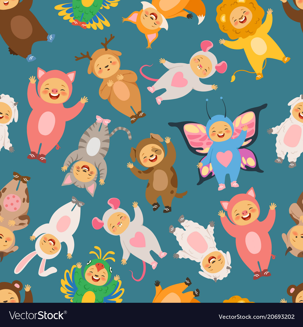 Seamless pattern with of kids in