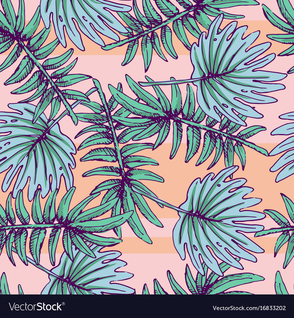 Summer colorful hawaiian seamless pattern with