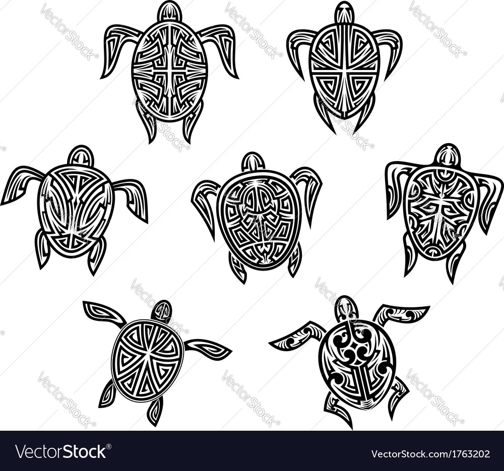 Tribal Turtles Tattoos Royalty Free Vector Image