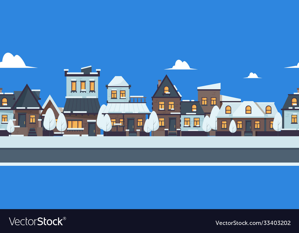 Winter street banner cute snowy houses seamless