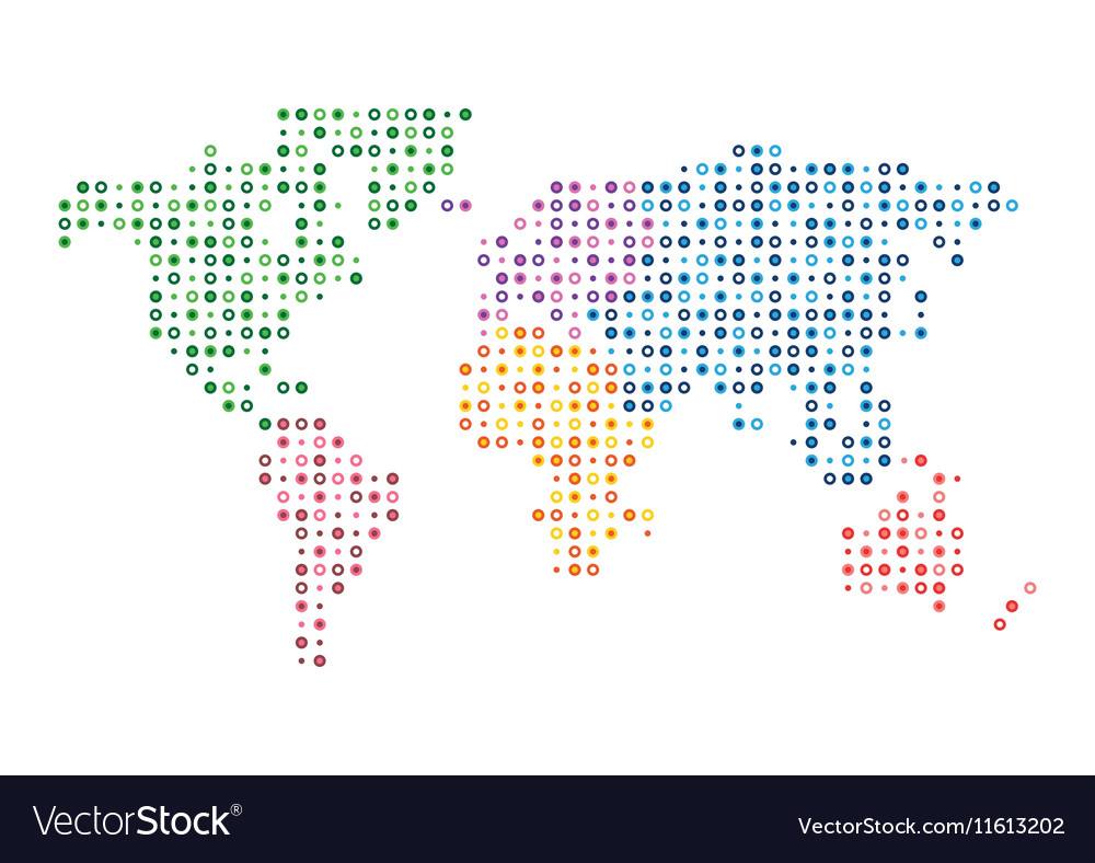 World map abstract colorful mosaic dotted