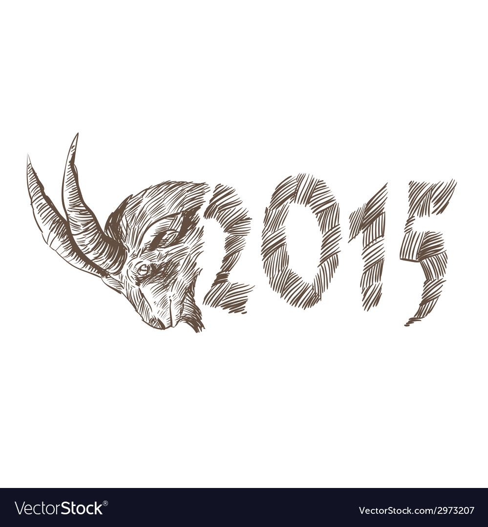 2015 Goat head drawing vector image