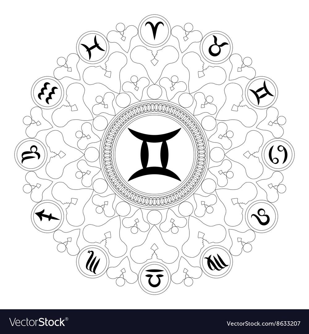 Adult Coloring Book Mandala Zodiac Symbol Gemini Vector Image