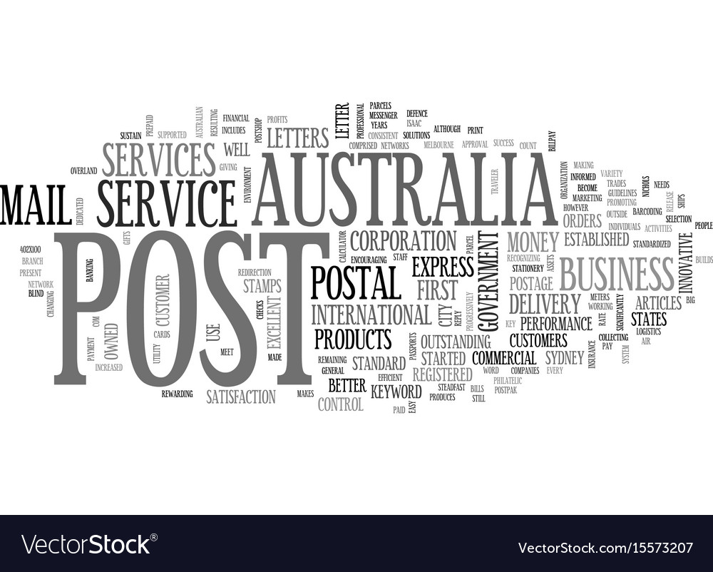 Australia post text word cloud concept