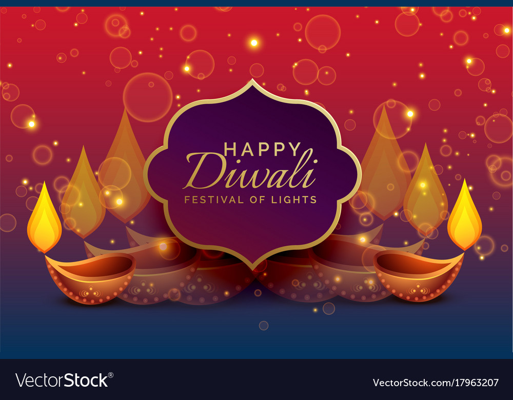 Beautiful diwali greeting background with diya