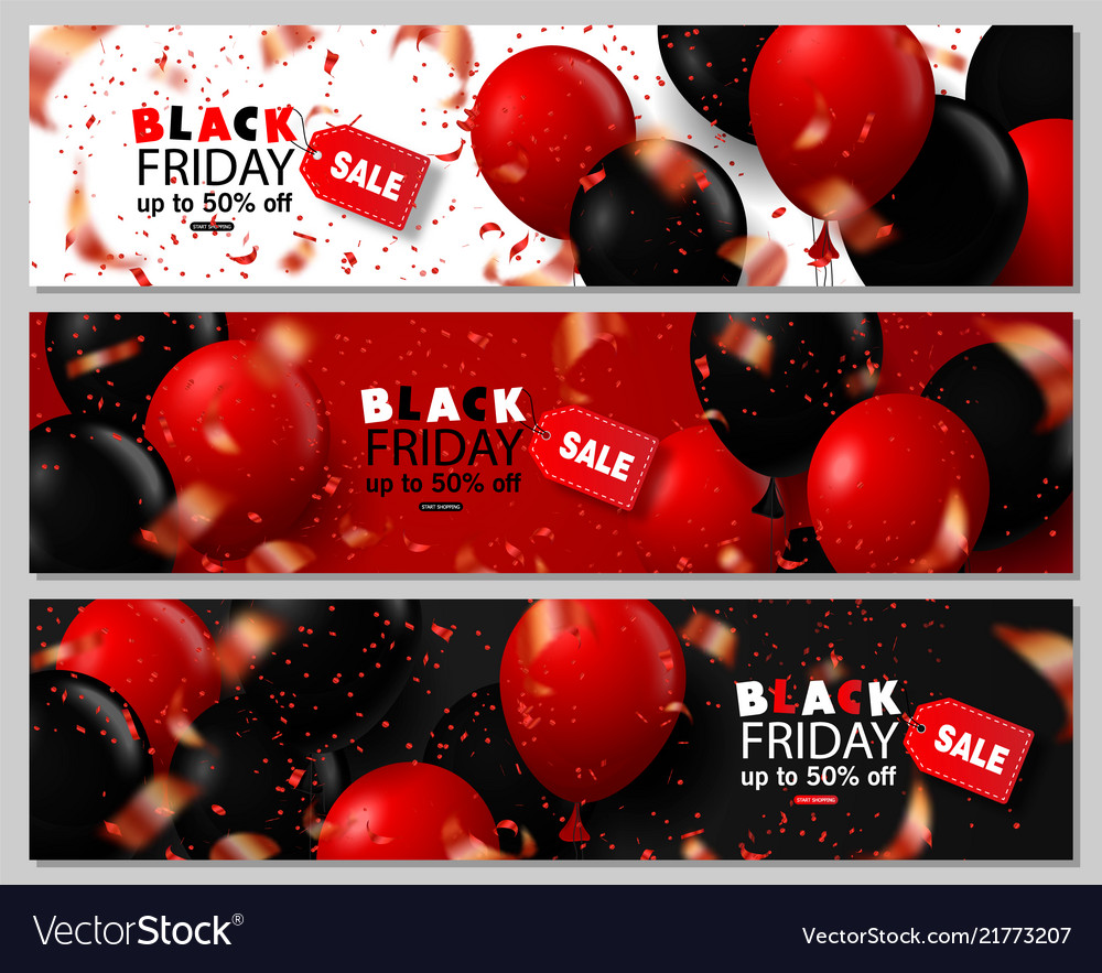 Black friday sale horizontal banners set flying