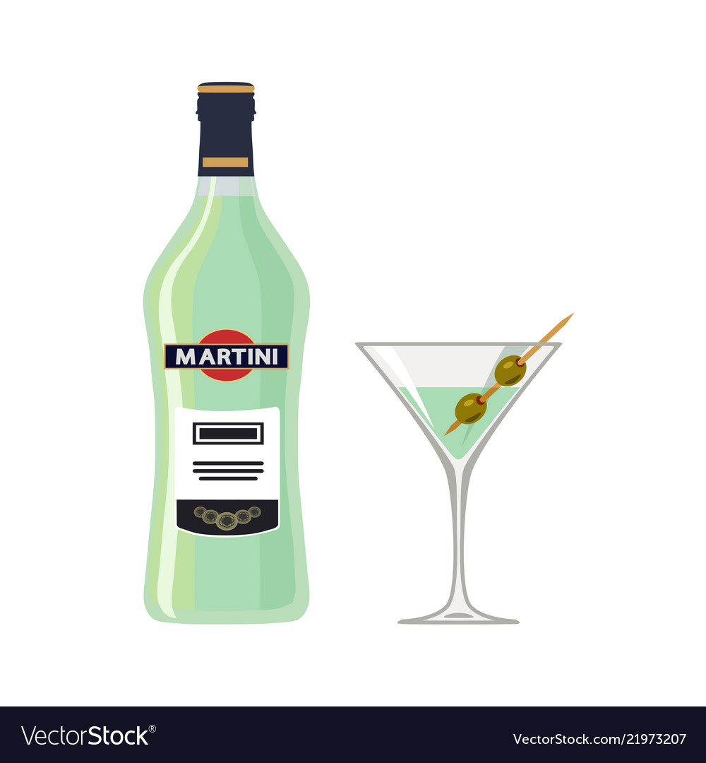 Bottle martini with glass isolated on white