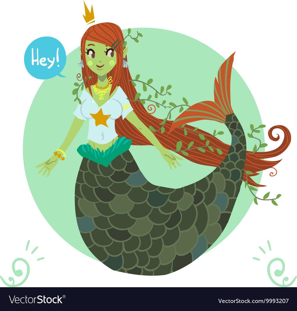 Cartoon flat cute Mermaid princess