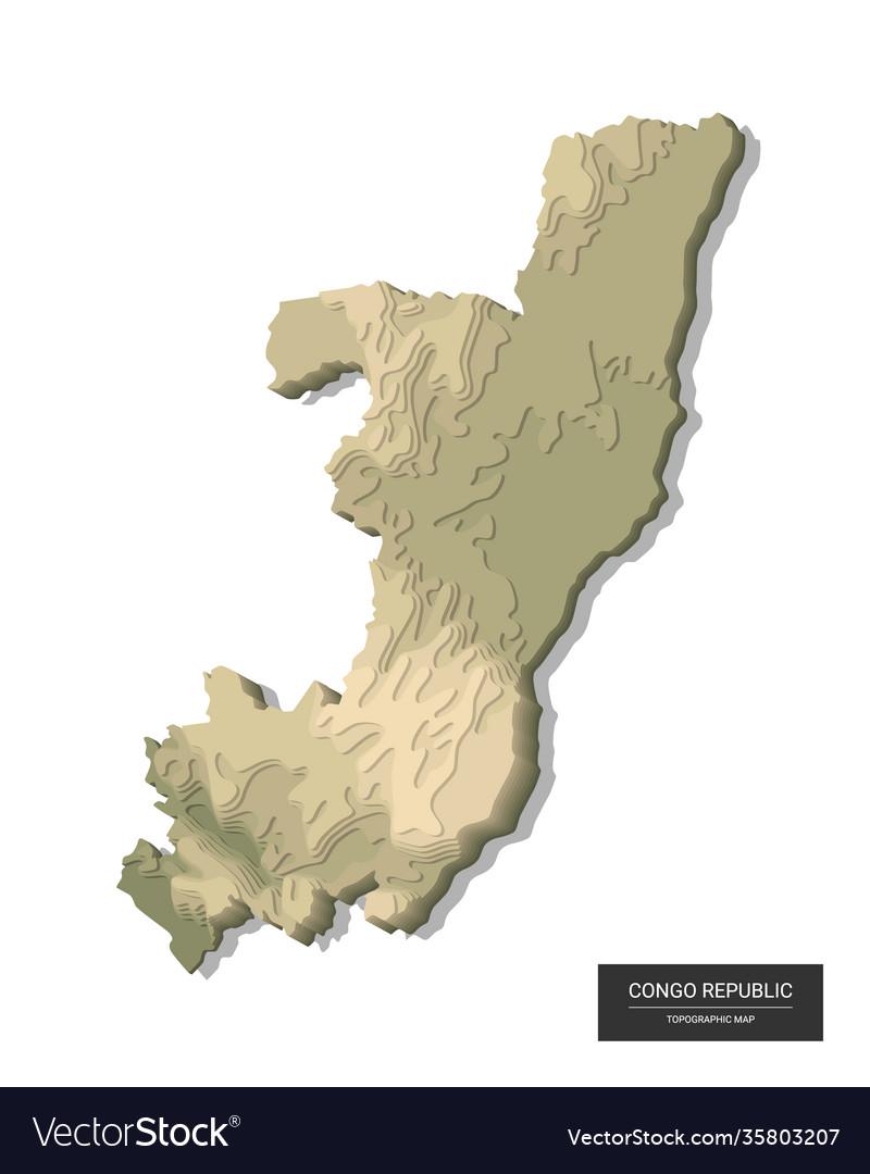 Congo republic map - 3d digital high-altitude