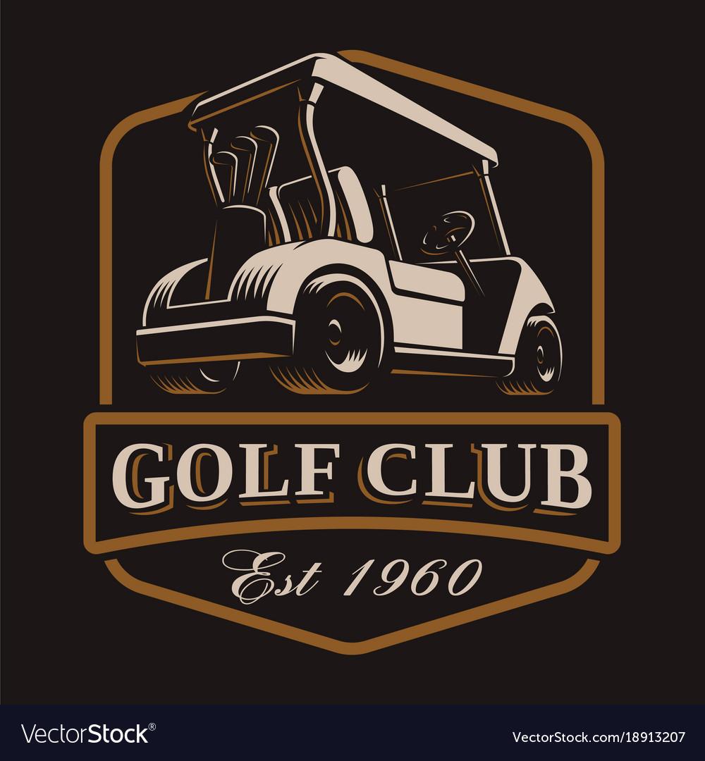 Golf cart logo on dark background