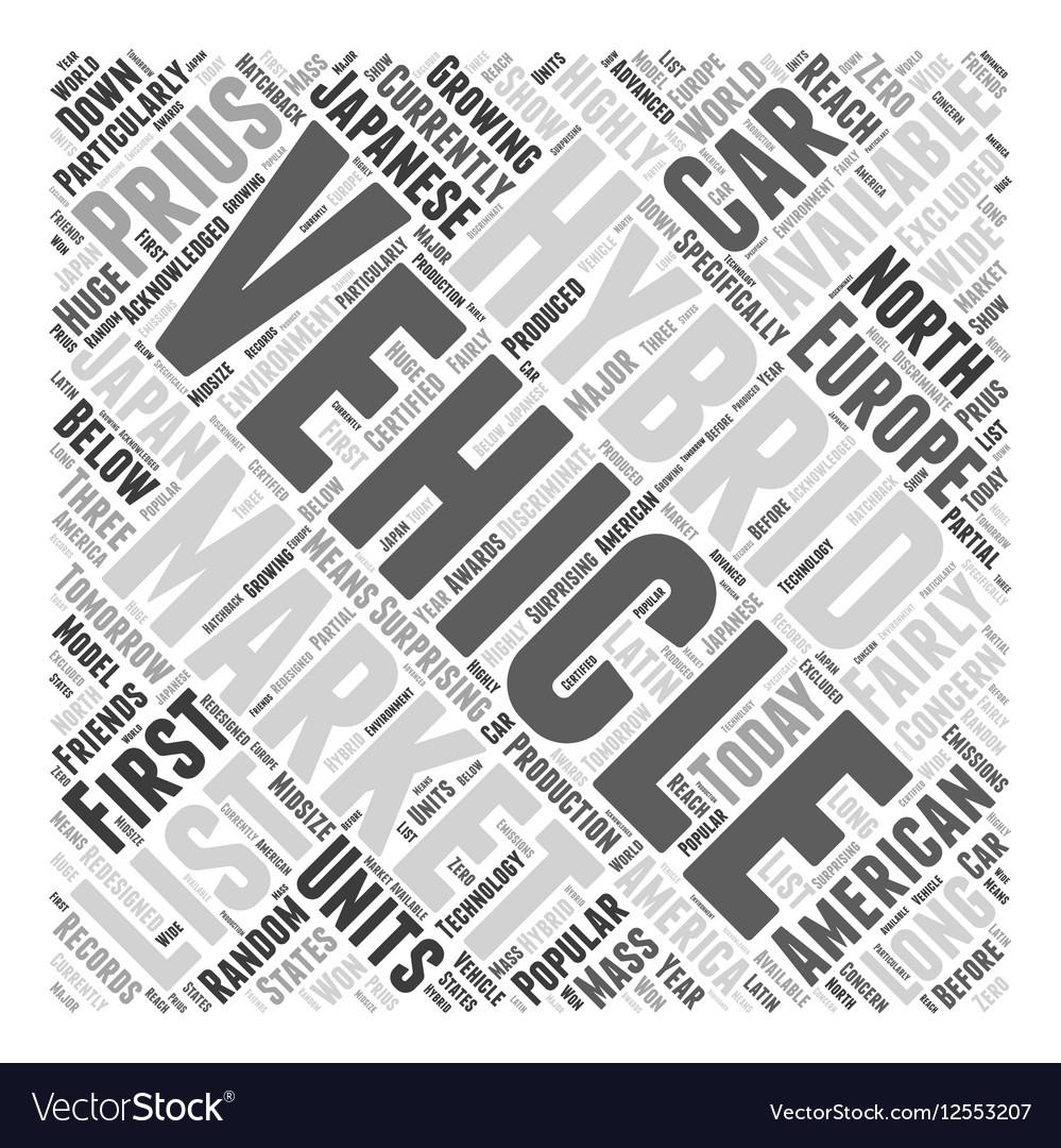 Hybrid Vehicles List Word Cloud Concept Vector Image