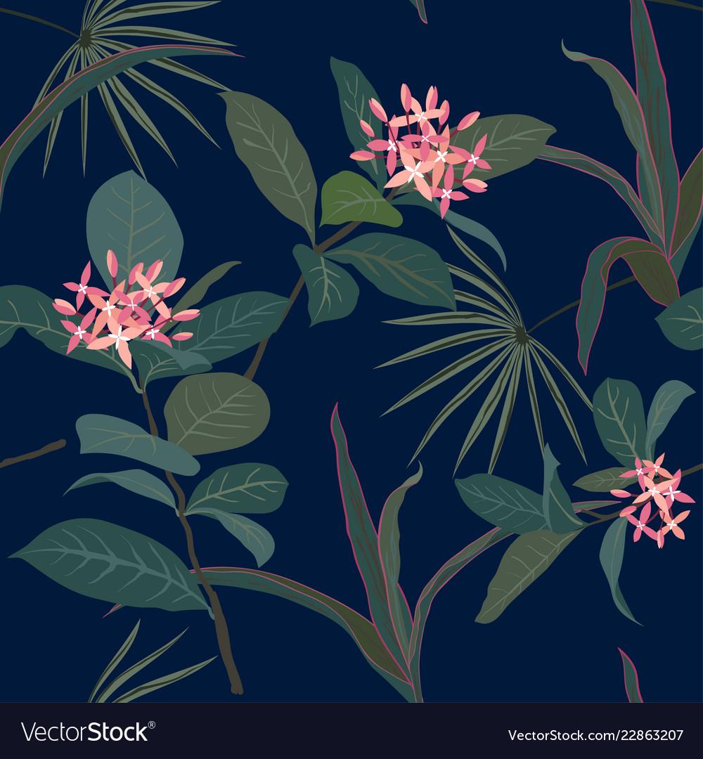 Pastel tropical flowers seamless pattern