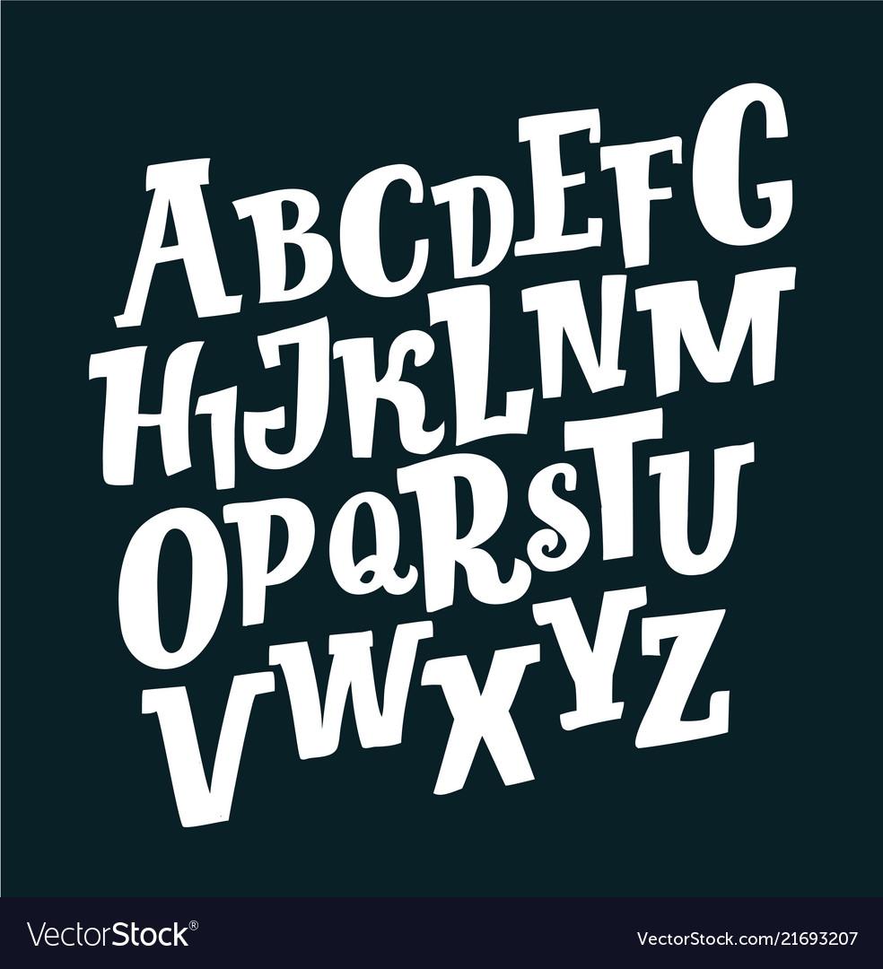 Retro slanted font and alphabet