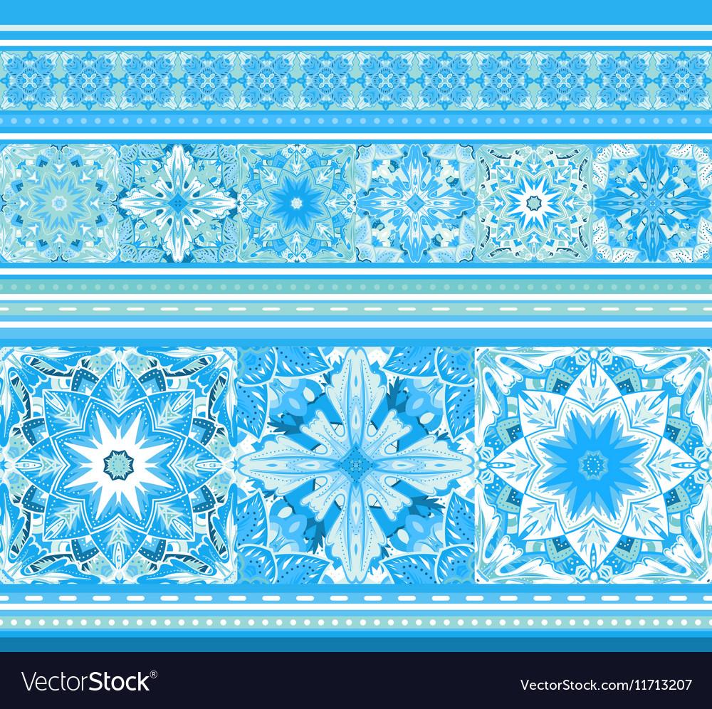 Seamless blue border with snowflakes in mandala