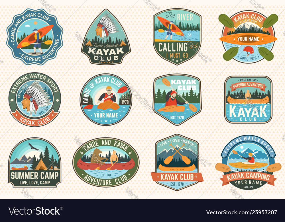 Set of canoe and kayak club badges concept