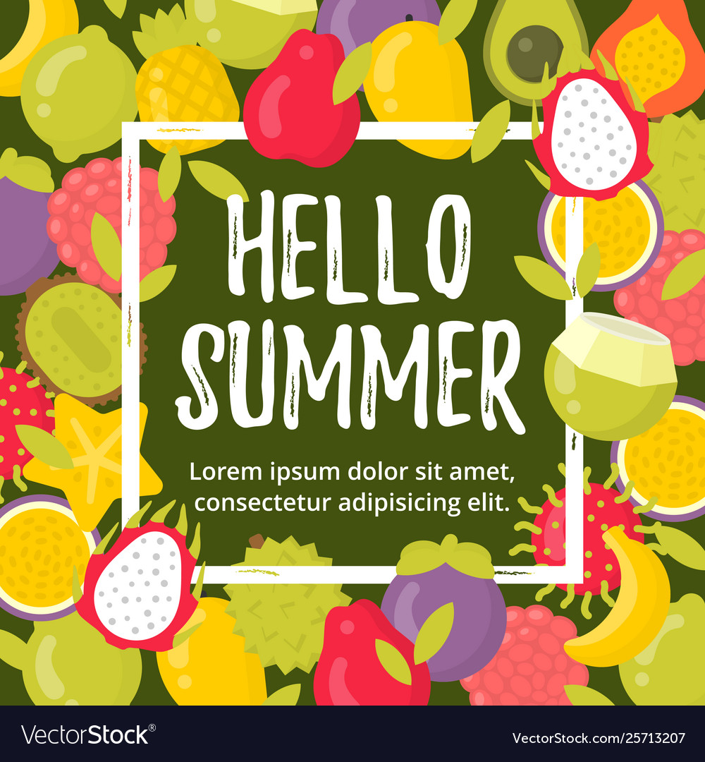 Summer poster with tropical fruits and lettering
