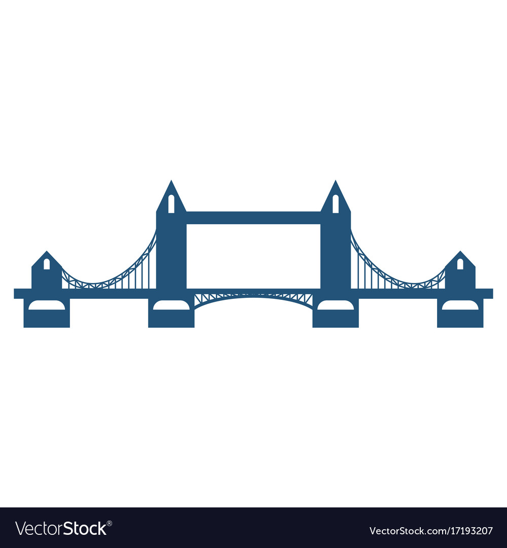 Tower bridge blue silhouette isolated on white
