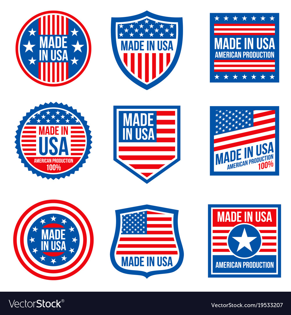 Vintage made in the usa badges american