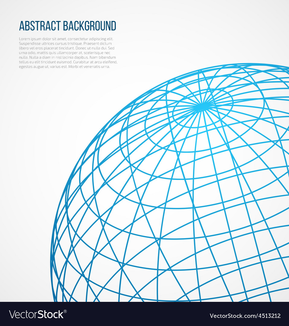 Abstract globe sphere from blue lines on white