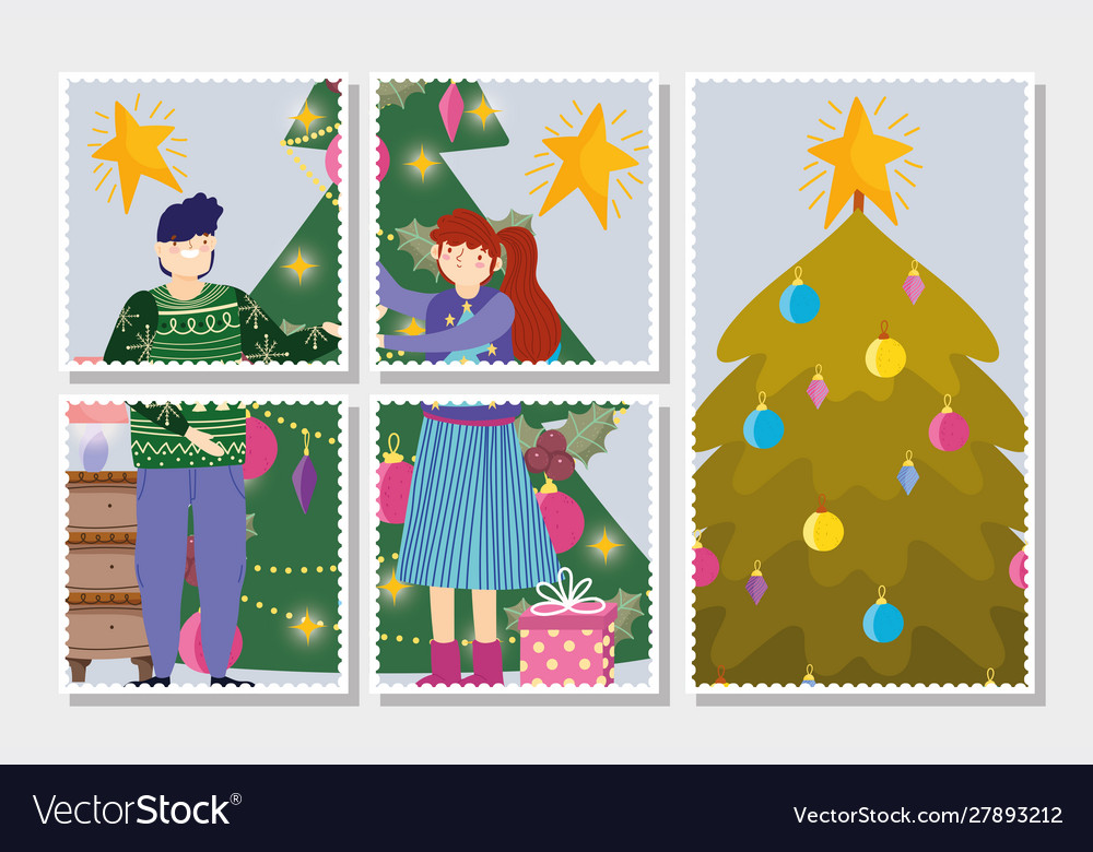 Couple with trees decoration tree merry christmas
