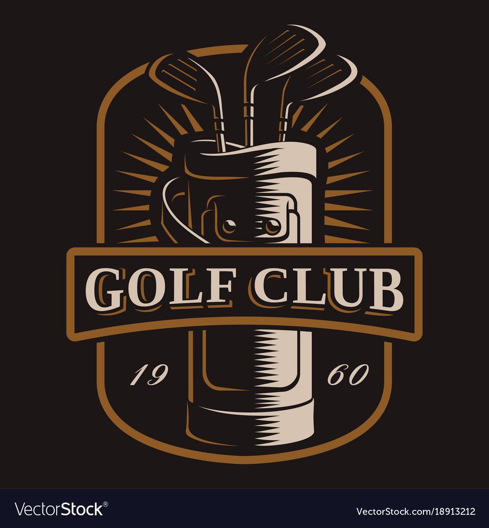 Golf clubs logo on dark background