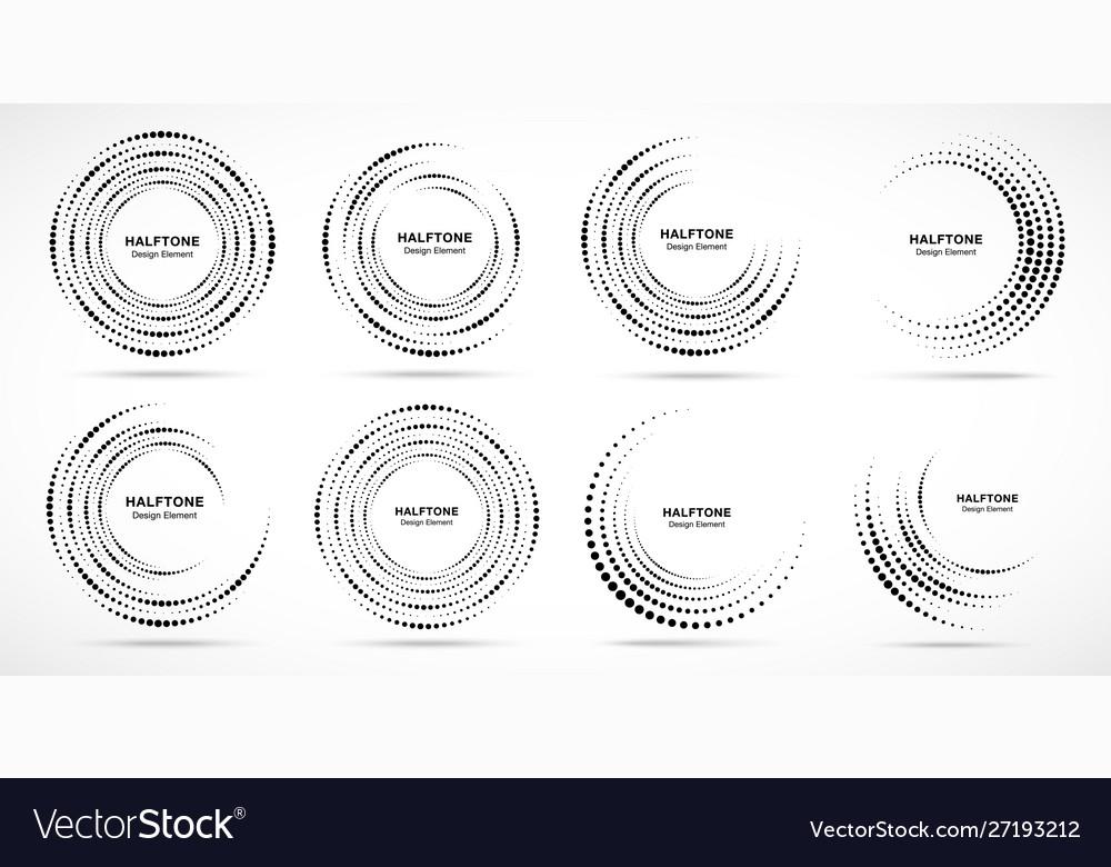 Halftone circle dotted frame logo design element