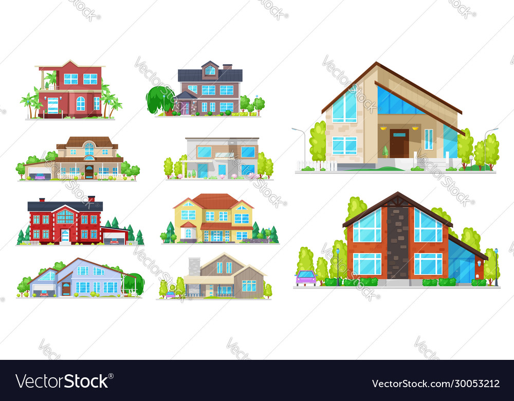 House cottage villa and mansion building icons