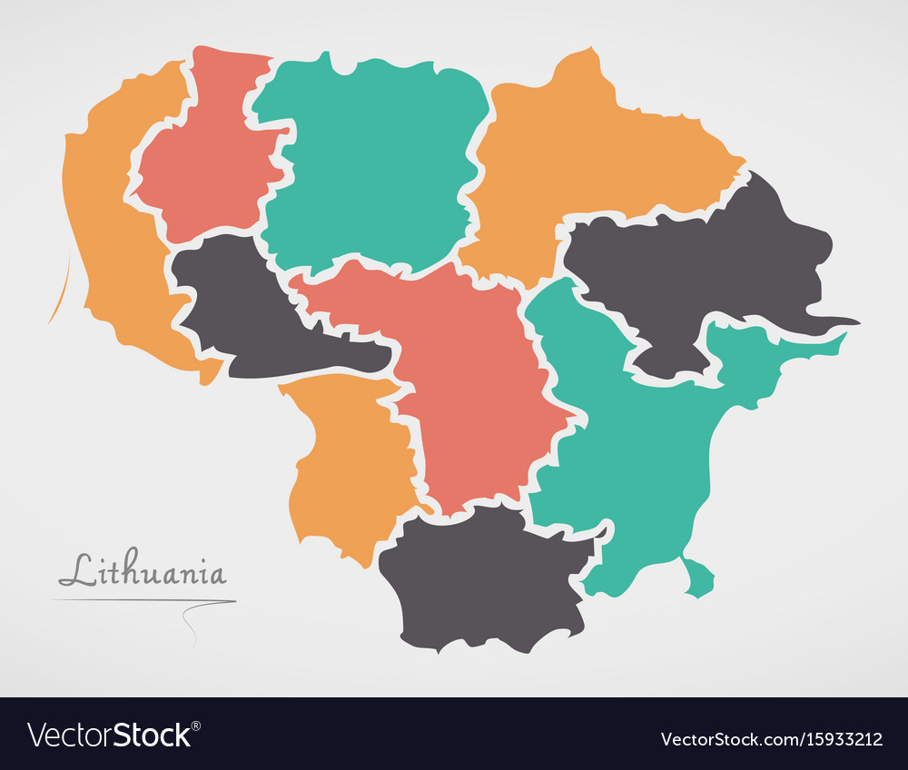 Lithuania map with states and modern round shapes vector image gumiabroncs Choice Image